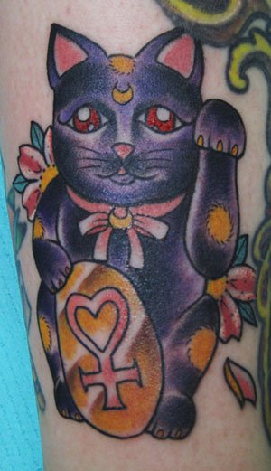 Its Luna from Sailor Moon as a japanese Lucky Cat, with the sign for Venus